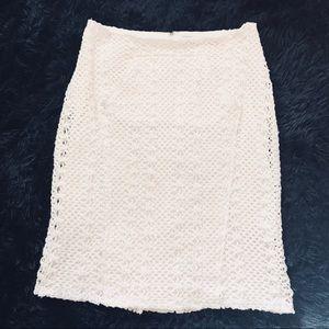 [Eva Franco] Cream Crochet Pencil Skirt